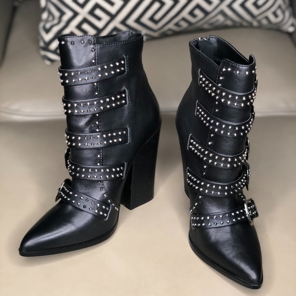5282fd25334 Steve Madden Comet Pointy Studded Buckle Boot